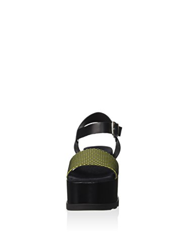 Fornarina PEFAZ9513WCJA200 Sandalo zeppa Donna Nero/Giallo
