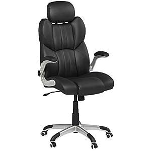 SONGMICS Bürostuhl, ergonomischer Drehstuhl, mit klappbaren Armlehnen, Nylon-Sternfuß, Tragfähigkeit 150 kg, schwarz…