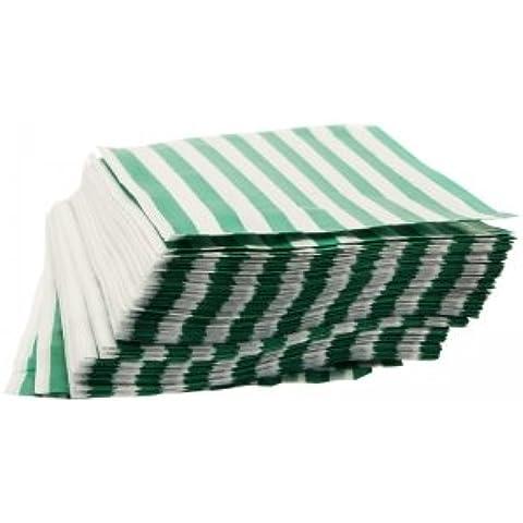 Bustine di carta da caramelle, a strisce, colore: verde
