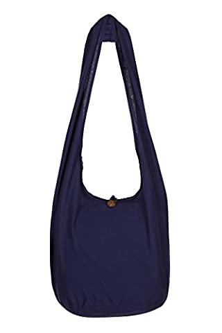 THAI BOHO BEACH TRAVEL BOHEMIAN HIPPIE GYPSY SHOULDER SLING BAG PURSE (Navy Blue)