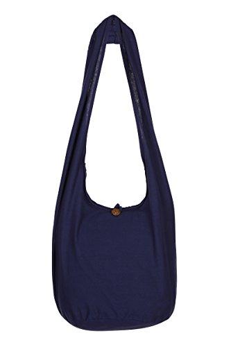 ThaiUK Damen Hippie-Tasche mit Schulterriemen, Boho-Stil, 100 % Baumwolle Blau - Marineblau
