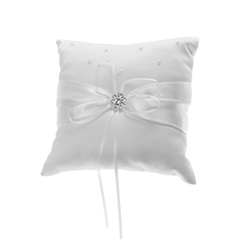 Satin Rhinestone Flower Beaded Wedding Ring Pillow Cushion Bearer 20 x 20cm---White