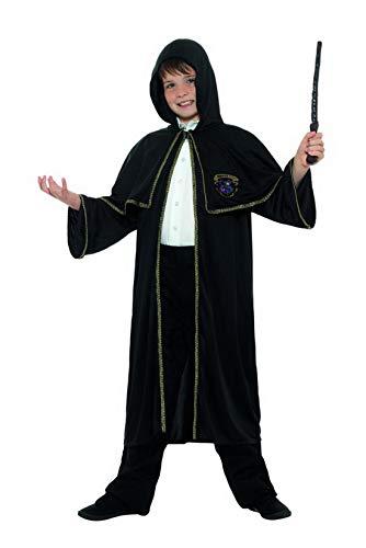 Halloweenia - Jungen Mädchen Kinder Magier Zauberer Kostüm mit Mantel, perfekt für Karneval, Fasching und Fastnacht, 152-176, Schwarz