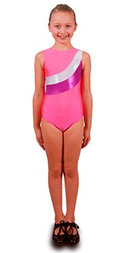 Deluxe Rosa Sleeve Gymnastik Mädchen Trikot mit Silber und Cerise Streifen (9-10 Jahre) Große Mädchen Rosa Trikot
