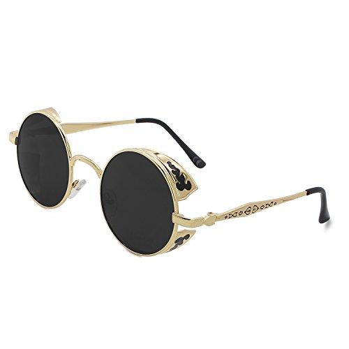 AMZTM Retro Gothic Steampunk HD Polarisierte Sonnenbrille für Frauen Vintage Metall Runde Kreis Rahmen Verspiegelt Fahrbrille UV400 Schutz (Golden Rahmen Grau Linse, 51)