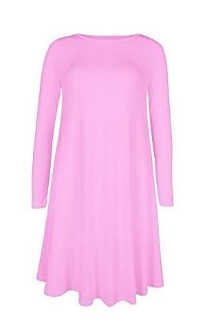 Baleza - Mini Robe Courte Femme Uni Jersey Manche Longue Evasé, Rose clair, L/XL EU 44-46