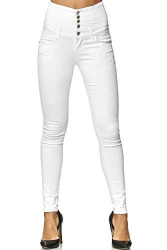 Elara Damen Stretch Jeans Skinny High Waist Chunkyrayan Y5109 White 38 - Stretch Weiß Jean