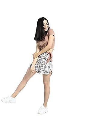 Bohobi Women White Printed Shorts with Contrast Belt