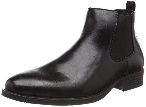 Stylische Herren Stiefeletten Chelsea Boots Business Leder-Optik Knöchelhohe Stiefel Schuhe 127369 Schwarz Gefüttert 41 Flandell