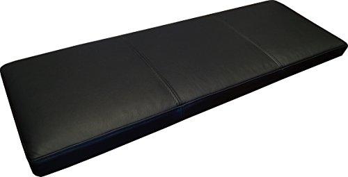 Schwarz Echtleder Bankauflage Sitzkissen Lederkissen Sitzpolster Bank Auflage doppelt genähtes Echt Leder Kissen Sitzauflage (40 x 80 cm)