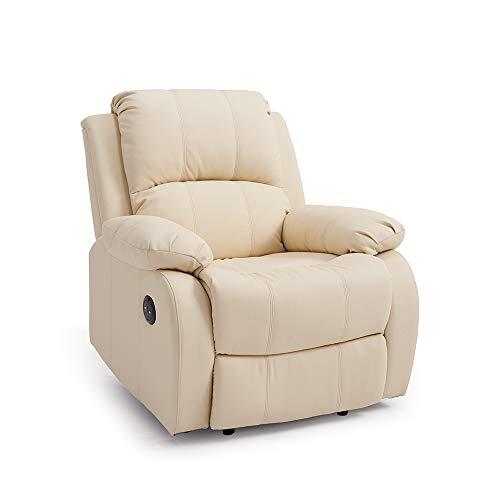 Magnificent Storeinuk Faux Leather Electric Recliner Armchair Sofa Home Lounge Gaming Cinema Chair In Cream Creativecarmelina Interior Chair Design Creativecarmelinacom