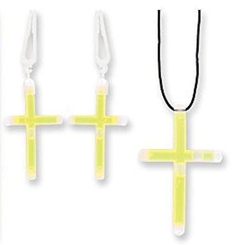 Glowing Glory Cross Glow in the Dark Necklace & Earring Set by DM (Cross In The Dark Glow)
