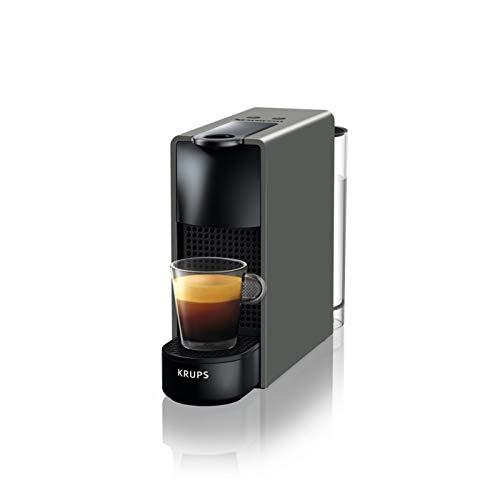 Krups Nespresso Essenza Mini Cafetera de cápsulas de 19 Bares con 2 programas de café, tamaño ultracompacto y función de autoapagado, Color Gris Intenso, 1450 W, 0.6 litros