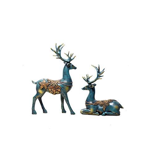 Wham Moon Escultura Estatuilla Estatua Adorno Artesanía, Resina de Ciervo Escultura Animales...
