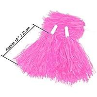12 Pompones Animadora Para Fútbol Baloncesto Equipo Cheers Con Mango Plástico Handheld Creative Pom Poms Cheer_Pom Dance Party Club (pink)