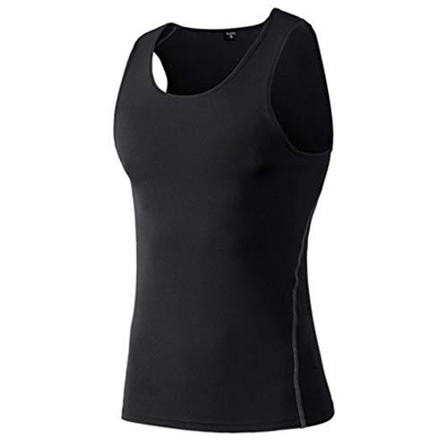 DDKK Herren Tank-Top aus Baumwolle, Camouflage, Kompression, ärmellos, Muskel, Komfort, atmungsaktiv, schnelltrocknend, Basketball, Laufen, Sport-T-Shirt M schwarz -