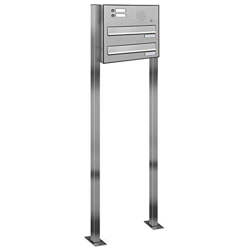 AL Briefkastensysteme 2er Edelstahl Durchwurfbriefkasten mit Klingel, Standbriefkasten modern, 2 Fach Doppe-Briefkasten-Anlage V2A Edelstahl Postkasten