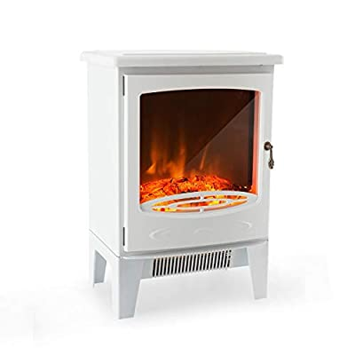 Klarstein Meran Electric Fireplace with Flame Effect • 950 or 1850 W • Stepless Thermostat • InstaFire Without Smoke • Dimmable • Overheating Protection • White