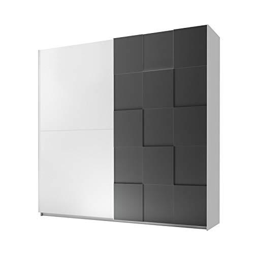 Tousmesmeubles Armoire 2 Portes coulissantes 220 cm Blanc/Gris Mat - TICATO - L 220 x l 64 x H 210 - Neuf