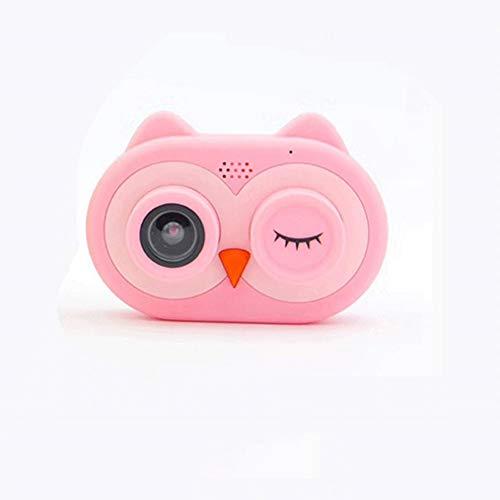 Pinjeer cartoon owl shape mini kid telecamere 8mp hd projection fotocamera digitale fotografia digital portable cute neck bambino 2 pollici ips screen video digital (color : pink)