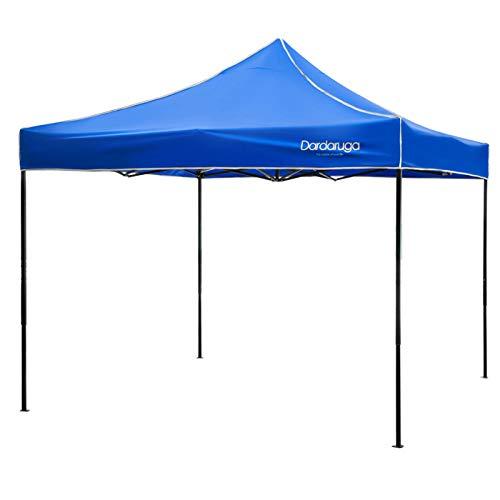 Dardaruga gazebo richiudibile 3x3 m pieghevole a fisarmonica mercato tendone con sacca blu