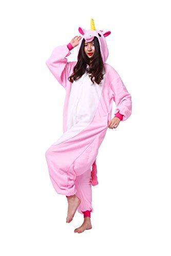 Magicmode Unisex Kigurumi Pyjamas Cartoon Tiere Erwachsene Strampelanzug Anime Hoodie Cosplay Nachtwäsche Rosa Einhorn L