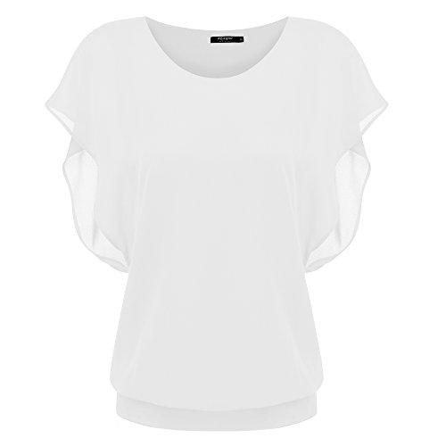 Zeagoo Damen Sommer Casual Loose Fit Kurzarm Fledermaus Batwing T-Shirt Shirt Chiffon Top Bluse, EU 38(Herstellergröße:M), Weiß