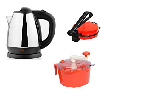 Snowpearl's Combo of Electric 1.8 Ltrs Stainless Steel Kettle and Red Roti Roti Maker, Dough Maker  available at amazon for Rs.1899
