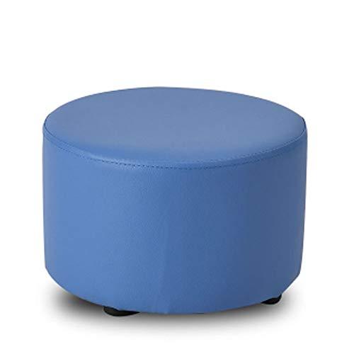 Blau Leder Osmanischen (DXAQC Osmanische Massivholz Mode Schuh Bank Wohnzimmer Couchtisch Sofa Hocker Kreative Kinder Kleine Leder Hocker Pier (Blau))