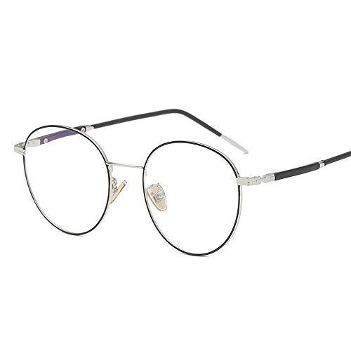 Gläser Blaulicht-Brille für PC-Brille UV-Brille quadratisch Unisex Brillen (Color : Black+Sliver, Size : Kostenlos)