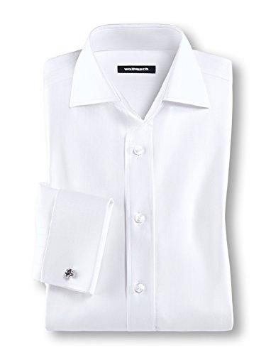 Walbusch Herren Hemd einfarbig in den Farben Weiß, Fischgrat Weiß, Struktur Weiß und in der Ärmellänge Langarm (ca. 63 cm) Fischgrat Weiß