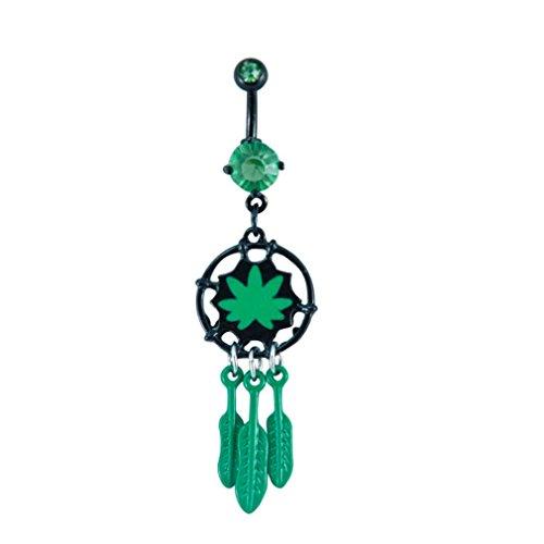 JEWELS Fashion Roestvrijstalen Pot Leaf Dreamcatcher Bengelen Belly Ring Pot Leaf
