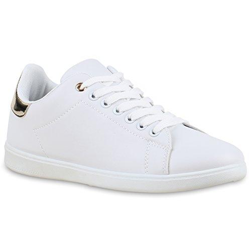 Damen Sneakers Velours Sneaker Low Sport Schnürer Animal PrintsLack Leder-Optik Glitzer Damen Schuhe 132323 Weiss Gold 40 | Flandell® (Gold Schuhe Weiß)
