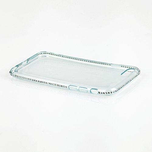 EGO® TPU Schutzhülle Strass Case Diamant mit Panzerglas für iPhone 6 / 6s Grün Transparent Back Cover Weich Silikon Ultra Dünn Steine Kristall Hülle Glänzend Bling Strass Klar Grün