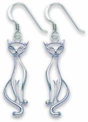 Pendientes de gato de Plata de Ley, estilo elegante clásico vintage