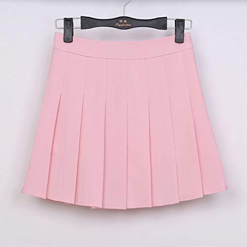 HEHEAB Rock,Rosa Feder Hohe Taille Ball Faltenröcke Harajuku Röcke Solid A-Line Sailor Rock Plus Size Japanese School Uniform, L -