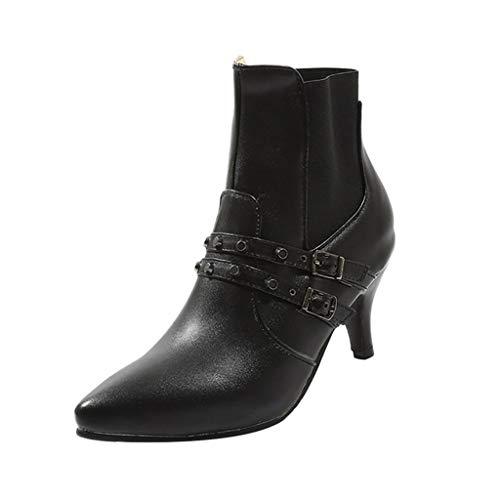 Deloito Damen Mode Freizeit Wilde Schuhe Stiefel Gürtelschnalle hoch Dünne Fersen Einzelne Schuhe Niet Stilett Spitze Stiefeletten (Schwarz,37 EU)