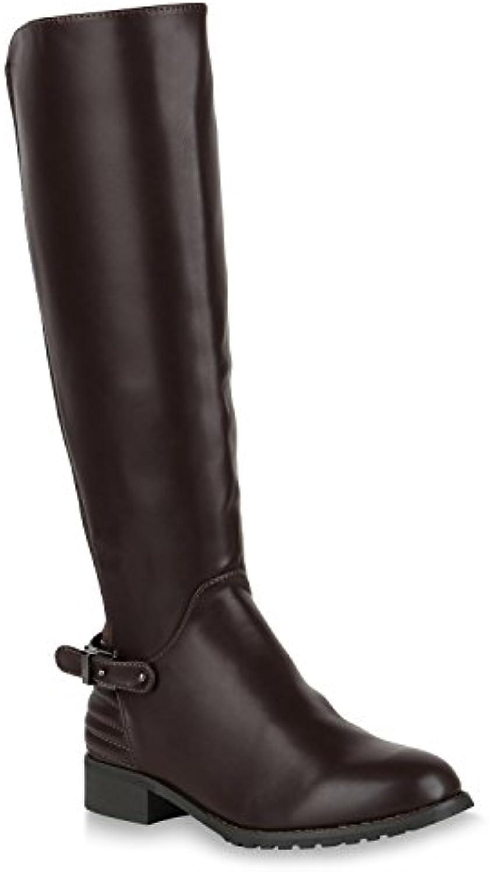 Stiefelparadies Damen mit Klassische Stiefel mit Damen Blockabsatz Schnallen Flandell cf34fa