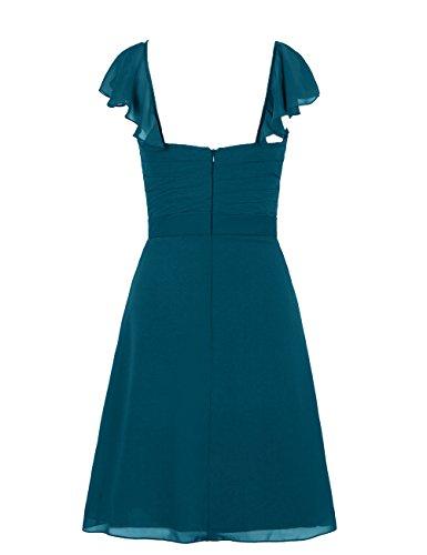 Dresstells, robe courte de demoiselle d'honneur, robe de cocktail mousseline col en cœur Gris