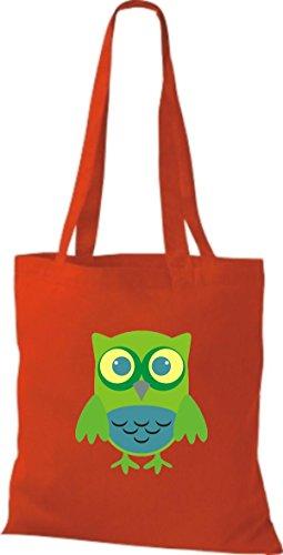 ShirtInStyle Jute Stoffbeutel Bunte Eule niedliche Tragetasche mit Punkte Karos streifen Owl Retro diverse Farbe, natur rot