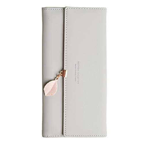 Damen PU Leder Lange Brieftasche mit Blatt Anhänger Kartenhalter Handytasche Mädchen Reißverschluss Geldbörse Gross Capacity -