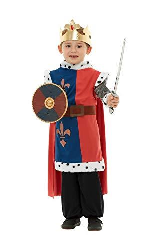 Kostüm Blau Mittelalterlichen Ritter - Luxuspiraten - Kostüm Accessoires Zubehör mittelalterliches blau rotes Kinder Ritter Waffen Set mit Schwert und Schild, perfekt für Karneval, Fasching und Fastnacht, Silber