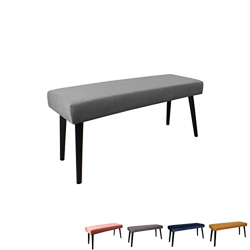 Nimara Gepolsterte Samt Sitzbank mit schwarzen Beinen | Perfekt für Esszimmer und Schlafzimmer und als Deko Bank | Erhältlich in grau, dunkelblau, rosa und Mehreren Farben | 100x35x45 (Grau) -