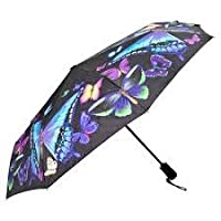 Moonlight Butterlfies folding style umbrella from the Galleria collection