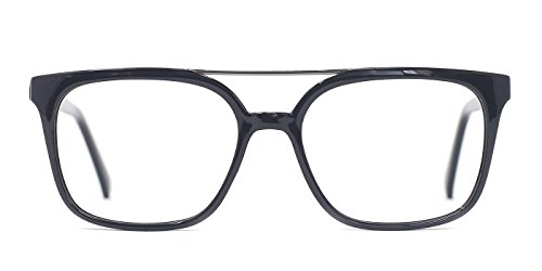 TIJN Damen Herren Quadrat Brille Rahmen nicht verschreibungspflichtigen Brillen (Grau)