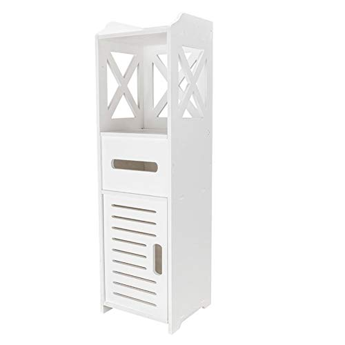 Bathroom Cabinet, Hiseea Waterproof Single Door 2 Tiers Bathroom Furniture for Living Room Bedroom, Kitchen Hallway, Bathroom Toilet, 80 x 20 x 18cm, White