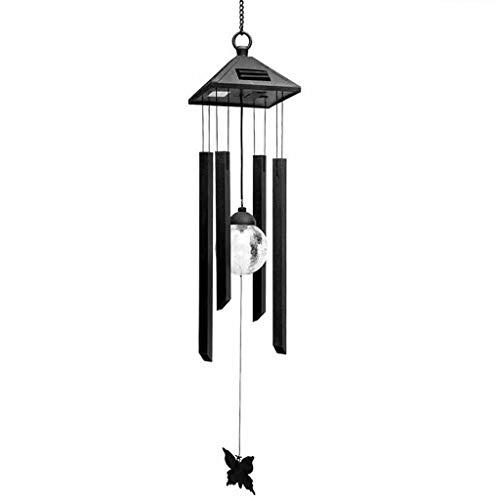 Garten Windspiele Solarbetriebene LED Windspiel Wind Farbwechsel im Freien Garten Hof Fenster Äolische Glocken Hause hängen Nachtlicht Dekor Windspiele (Color : Black, Größe : 80cm) - Glas Metall Mobile Speicher
