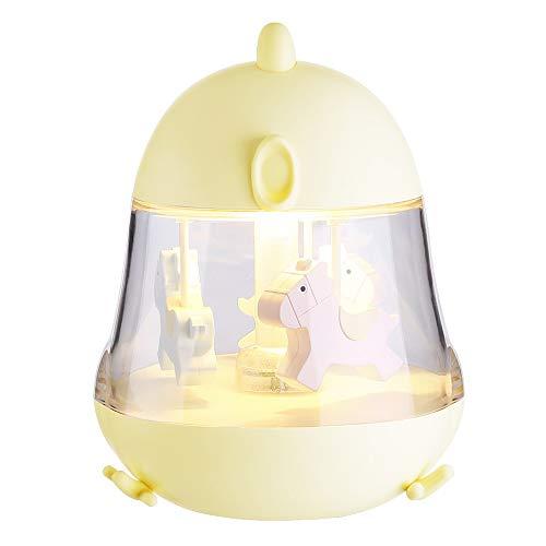 JIGAN Neue Kreative Karussell Spieluhr Licht USB Küken Augenschutz Nachtlicht Nachttischlampe Musical Spielzeug Geschenke Traum für Kinder,Yellow -