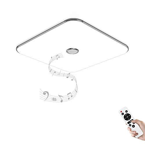 JDONG Deckenleuchte mit Bluetooth Lautsprecher und Fernbedienung 24W Farbwechsel, dimmbar, Warmweiss- Kaltweiss, 2800-6500 Kelvin (Silber) X5121Y-24W-LY