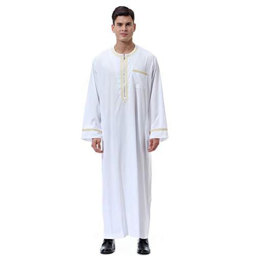 Banbie8409 Arabische muslimische islamische Kostüme HUI-Männer Oansatz-Reißverschluss-Lange Hülsen-Kleider (weiß - - Arabische Kostüm Männer